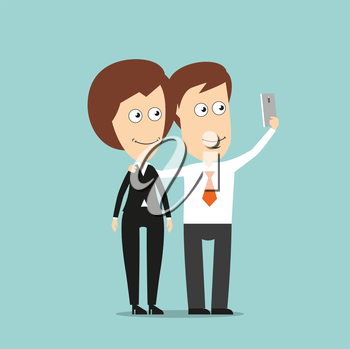 Happy businessman and business woman taking selfie portrait together with mobile phone, for social media concept design. Cartoon flat style