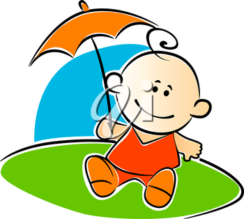 Little baby dressed in red holding a matching sunshade or umbrella as it sits outdoors on the grass, vector illustration