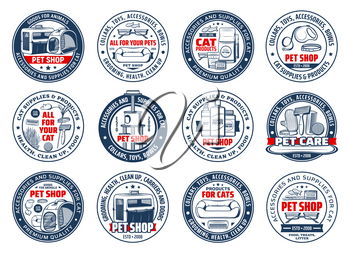 Cats care isolated vector icons. Pet shop accessories and supplies, goods for animals round signs. Food, carrier bag, toys, collars and bowls, grooming and health care for cats, zoo store stuff set