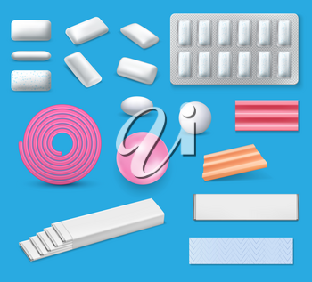 Chewing bubble gum realistic vector mockups. Bubblegum packages with mint or menthol sticks and blister pack with pads, pink ribbon gum, coated dragee, pellets and pillows 3d templates