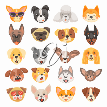 Cute dog and puppy faces cartoon vector design of pet animals. Isolated heads of terrier, french bulldog, pug and corgi, labrador, poodle, doberman and chihuahua dog breeds with funny tongues, smiles
