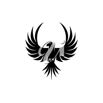 Bird feathered animal silhouette isolated icon. Vector falcon outspread wings, eagle, phoenix or peregrine, bird of strength and glory. Black falcon, hawk or bald eagle coat of arms mascot