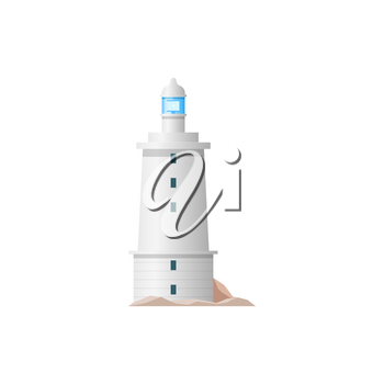 Nautical tower with signal on top isolated building. Vector sea lighthouse construction, navigation beacon tower building with guide beam. Searchlight symbol marine navigational equipment, navy safety