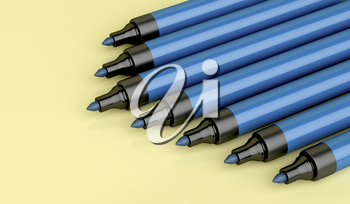 Close-up of blue permanent markers, 3d illustration