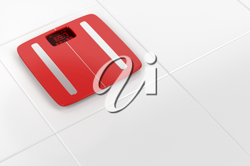 Smart weight scale on white tiles