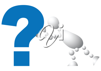Royalty Free Clipart Image of an Android Pushing a Question Mark