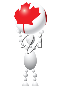 Royalty Free Clipart Image of an Android With a Maple Leaf Ball