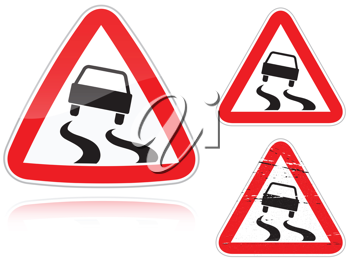 Royalty Free Clipart Image of Three Slippery Road Signs