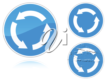 Royalty Free Clipart Image of Signs With Circles of Arrows