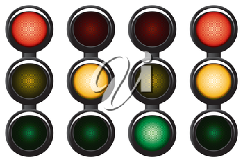 3-sections traffic-light. Variants. Vector illustration. Isolated on white background.