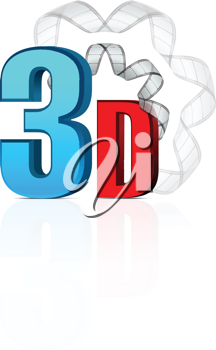 Royalty Free Clipart Image of 3D With Film Strip