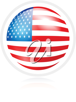 Royalty Free Clipart Image of a USA Flag in a Sphere