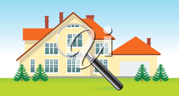 Royalty Free Clipart Image of a House Under a Magnifying Glass