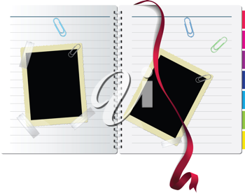 Royalty Free Clipart Image of a Notebook With Polaroids