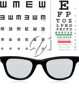 Royalty Free Clipart Image of a Snellen Eye Test With Glasses