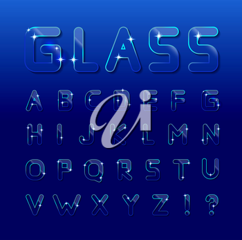 Vector glass font on a blue background. Can be used for window dressing, goods made of glass, posters, booklets, print production and Web design