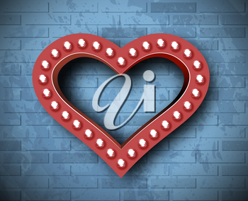 Vector marquee heart symbol on brick wall background. Background for congratulations on Valentine's Day