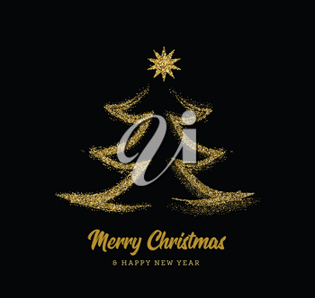 Silhouette of a Christmas tree in the form of gold sparkles on a black background. Vector illustration