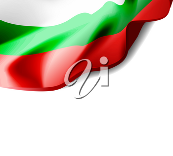Waving flag of Bulgaria close-up with shadow on white background. Vector illustration with copy space for your design