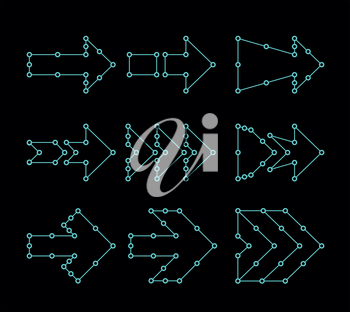 Arrows in the form of lines, dots connected. HUD or UI interface design. Vector illustration