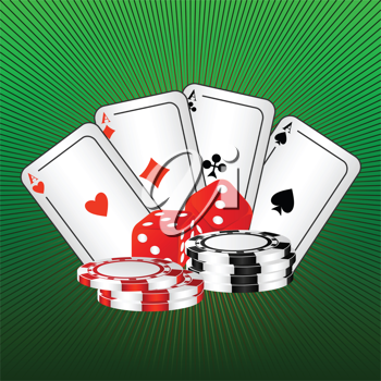 Royalty Free Clipart Image of Playing Cards and Dice