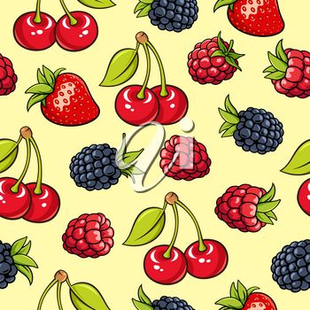 Seamless background with strawberry, blackberry, raspberry, cherry. Garden berries on yellow backdrop. It can be use as a pattern for fabric, web page background