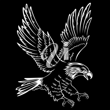 Bald Eagle silhouette isolated on black. This vector illustration can be used as a print on T-shirts, tattoo element or other uses
