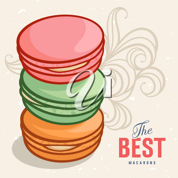 Vector illustration of delicious macaroons. The inscription The best macarons