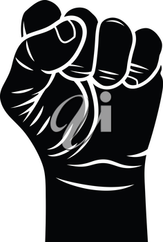 Male fist vector illustration. Fist held in protest. Revolt symbol