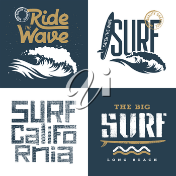 Surfing artworks set / Surfrider print design / T-shirt apparel print graphics / Original graphic Tee