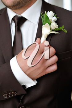 The groom holds his boutonniere hand. The groom in suit and boutonniere