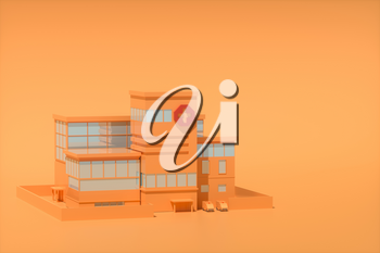 Hospital model with orange background,abstract conception,3d rendering. Computer digital drawing.