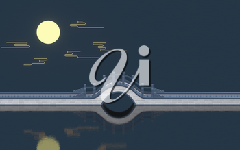 Chinese style bridge with full moon background, 3d rendering. Computer digital drawing,
