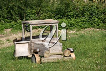 Royalty Free Photo of an Old Wooden Truck in a Field