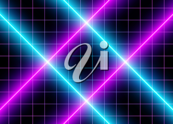 3D Neon Cyberspace Blue and Violet Lights, Futuristic Abstract Grid Lines, Led  Glow Lines, Futuristic Laser Association. Digital Surface Background. Sci-Fi Style. Eps10 Vector Illustration - Vector