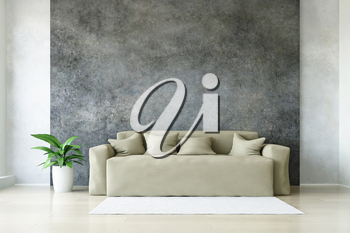 Modern Beige Sofa with Pillows and Plant near the Stylish Dirty Concrete  Wall and White Carpet on the Wooden Floor, Fashion Decor, Living Room Conceptual Style, 3D Rendering Trendy Art Graphic Design.