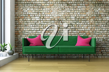 Simple Interior Art Room with a  Green Sofa with Red Pillows and Decoration Plants near the Old Stylish Brick Wall, Artistic Decor, Amazing Fashion Conceptual Style, 3D Rendering Graphic Design