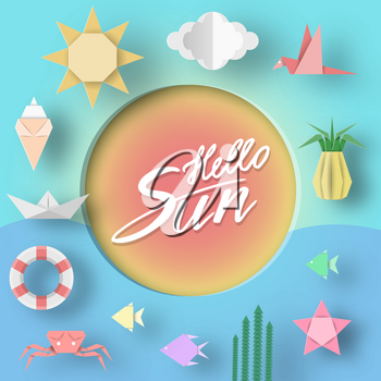 Hello Sun Paper Applique of Summer Symbols, Sign and Objects with Text illustrate the Greeting of the Summertime. Template Art Background for Banner, Card, Logo, Poster. Design Vector Illustrations.