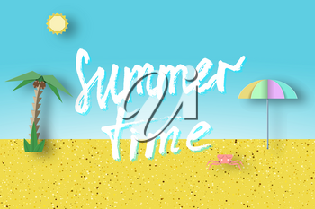 Summer Time Paper Origami Trendy Abstract Concept, Applique Scene with Inscription and Cut Elements. Creative Cutout Template for Season Card, Poster, Banner. Vector Illustration Paper Art Design.