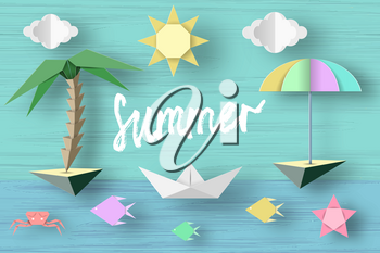 Summer Paper Applique of Symbols, Sign and Objects with Text illustrate the Greeting of the Summertime. Sun Background. Art Template for Banner, Card, Logo, Poster, Label. Design Vector Illustrations.