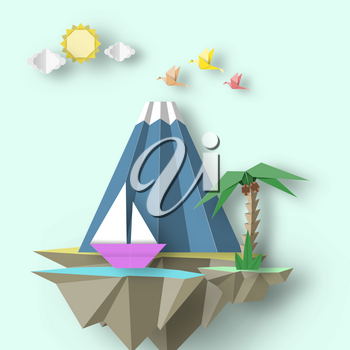 Paper Origami Abstract Concept, Applique Scene with Cut Birds, Mountain, Yacht and Fly Island. Custom Artwork. Cut out Template with Elements, Symbols for Card. Vector Illustrations Art Design.