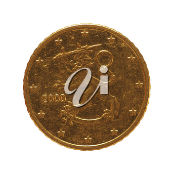 50 cents coin money (EUR), currency of European Union, Finland isolated over white background