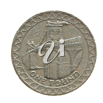 One Pound coin isolated over a white background