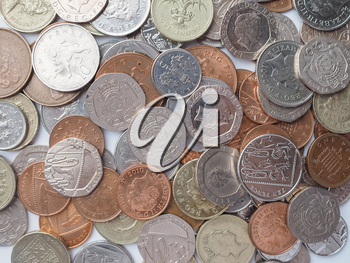 LONDON, UK - AUGUST 01, 2015: British Pound coins currency of the United Kingdom
