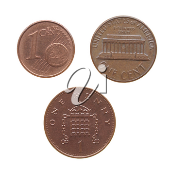 One Euro cent One Dollar cent One Penny coins