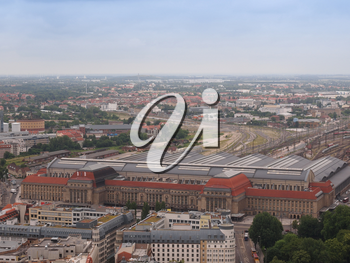 Aerial view of the city of Leipzig in Germany with the Hauptbahnhof central station