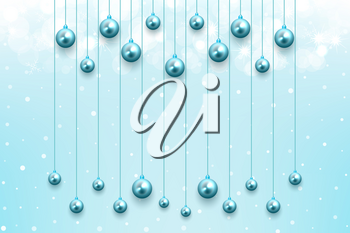 Winter celebration background with snow and glowing blue balls ornament for merry christmas holiday december
