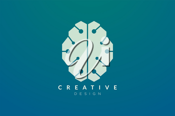 Design abstract brain shape logo with technology style. Simple and modern vector design for business brand in the field of digital technology, network, internet, media, data, electronic, software