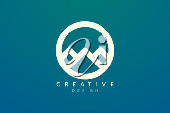 Logo design that combines circle objects with mountains. Minimalist and modern vector design for your business brand or product