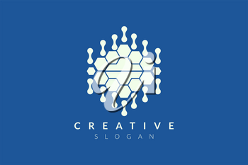 Vector design of brain style with various abstract shape. Simple brain design, simple logo style, modern icon and symbol
